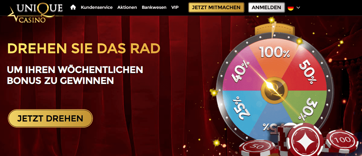 Bonus Rad im Unique Casino Online